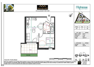 TOURS MAGINOT -  SUPERBE T 2 DE  39.87 m2 + PARKING + TERRASSE  SEMI -COUVERTE